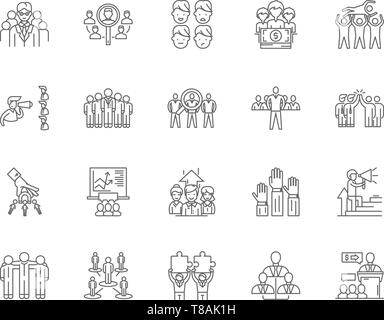Focus group line icons, signs, vector set, outline illustration concept  - Stock Photo