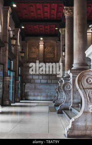 Luxurious and architectural entrance of Saint Lazare train station in Paris France - Stock Photo
