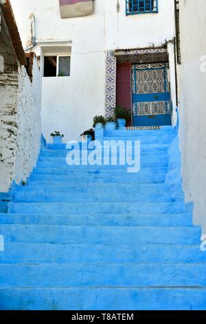 Morocco, Tangier Tetouan region, Tangier, The old city (medina), narrow street in the Kasbah - Stock Photo