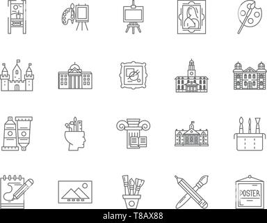 Gallery line icons, signs, vector set, outline illustration concept  - Stock Photo