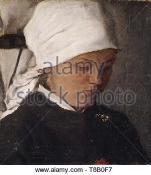 Wilhelm Leibl-Peasant Girl with a White Headcloth - Stock Photo