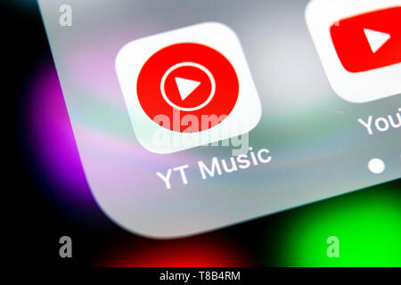Sankt-Petersburg, Russia, August 16, 2018: YouTube Music application icon on Apple iPhone X smartphone screen close-up. Youtube music app icon. Social - Stock Photo