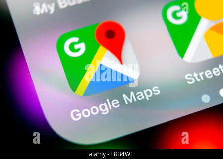 Sankt-Petersburg, Russia, August 16, 2018: Google Maps application icon on Apple iPhone X screen close-up. Google Maps icon. Google maps application.  - Stock Photo