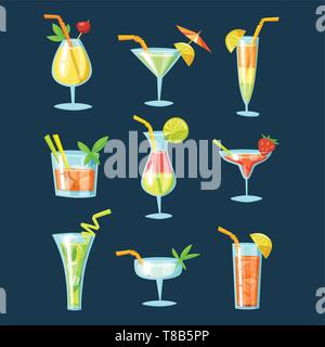 Vector set of drinks and cocktails icons.  - Stock Photo
