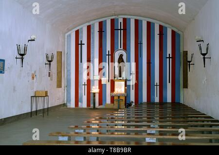France, Var, Toulon, Mont Faron, D-Day and Liberation Memorial in Provence, Sanctuary Notre Dame du Faron converted into an old powder magazin - Stock Photo
