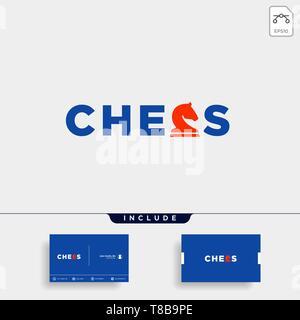 chess logo type vector design illustration, typography logo for chess - Stock Photo