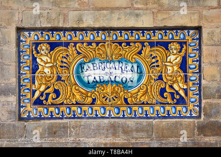 Old ceramic tiles 'Fabrica Real de Tabacos' - Royal Tobacco Factory in Seville, University of Sevilla, Andalusia - Stock Photo