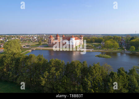 View of Mir Castle on a sunny April morning (aerial survey). Belarus - Stock Photo
