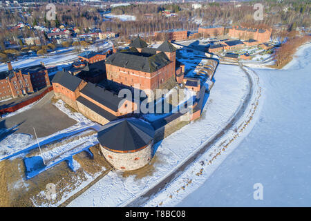 Ancient fortress prison of Hameenlinna close up in the sunny March afternoon. Top view, Finland - Stock Photo