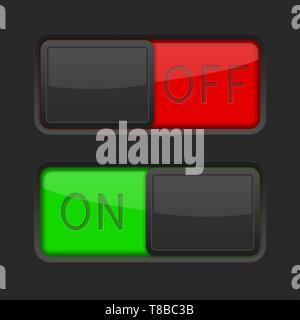 On and Off black toggle switch buttons. Red and green interface elements - Stock Photo