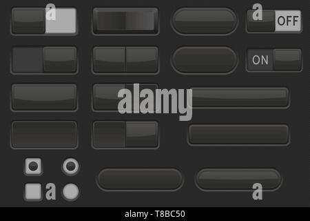 Toggle switch buttons and Push buttons. Black elements - Stock Photo