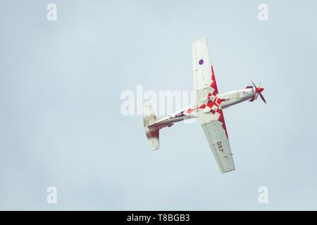 ZADAR,CROATIA - APRIL 26, 2019: The Wings of Storm aerobatic display team. - Stock Photo