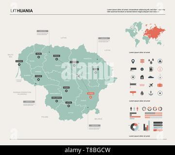 Vector map of Lithuania. High detailed country map with division, cities and capital Vilnius. Political map,  world map, infographic elements. - Stock Photo