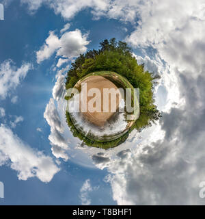 Little planet spherical panorama 360 degrees. Spherical aerial view in forest in nice day. Curvature of space - Stock Photo