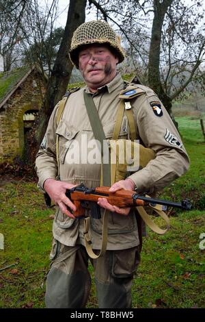France, Eure, Sainte Colombe prÚs Vernon, Allied Reconstitution Group (US World War 2 and french Maquis historical reconstruction Association), reenactor Marc Amblot in uniform of the 101st US Airborne Division