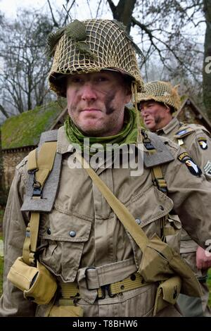 France, Eure, Sainte Colombe prÚs Vernon, Allied Reconstitution Group (US World War 2 and french Maquis historical reconstruction Association), reenactor Erwan Ruaux in uniform of the 101st US Airborne Division