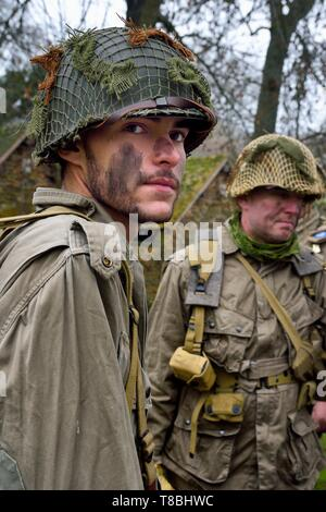 France, Eure, Sainte Colombe prÚs Vernon, Allied Reconstitution Group (US World War 2 and french Maquis historical reconstruction Association), reenactor Pierre Nehou in uniform of the 101st US Airborne Division