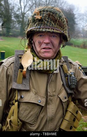 France, Eure, Sainte Colombe prÚs Vernon, Allied Reconstitution Group (US World War 2 and french Maquis historical reconstruction Association), reenactor Michel Menager in uniform of the 101st US Airborne Division