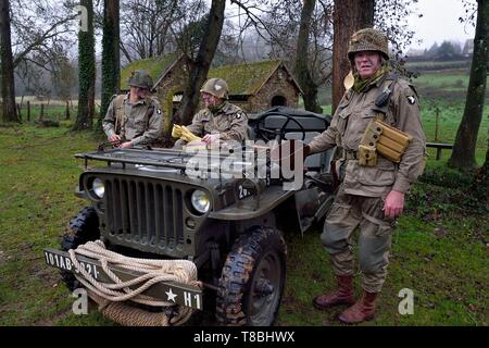 France, Eure, Sainte Colombe prÚs Vernon, Allied Reconstitution Group (US World War 2 and french Maquis historical reconstruction Association), reenactors in uniform of the 101st US Airborne Division