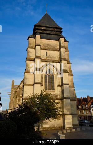 France, Calvados, Pays d'Auge, Pont l'Eveque, Saint-Michel church - Stock Photo