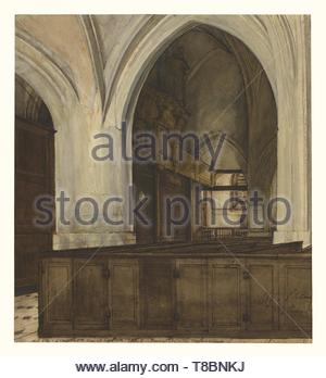 Franois Bonvin (French, 1817 - 1887)-Interior of Abbey of Aramont - Stock Photo