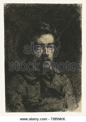 Franois Bonvin (French, 1817 - 1887)-Self-Portrait - Stock Photo