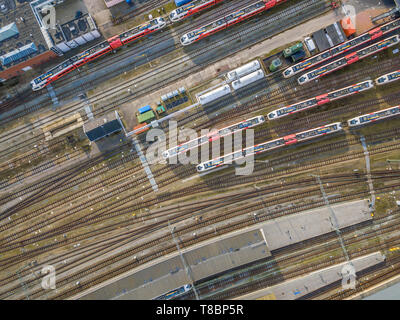 Railroad yard at station district aerial in Netherlands - Stock Photo