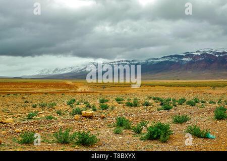 Beautiful winter panorama of mountains BOUIBLANE - MOROCCO, beautiful nature among the mountains - Stock Photo