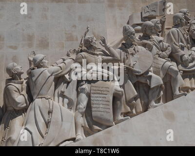 monument to the discoveries named Padrao dos Descobrimentos in Lisbon near Belem - Stock Photo