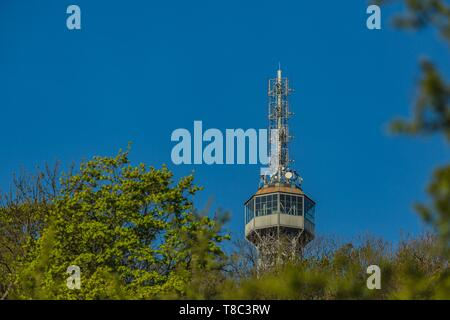 Prague, Czech Republic / Europe - April 22 2019: Detail of Petrin tower, a famous lookout tower built in 1891 resembling Eiffel tower on a sunny day. - Stock Photo