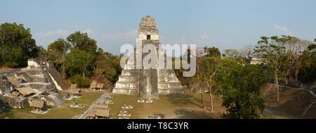 Tikal Guatemala - mayan ruins including the maya Temple 1, ancient mayan UNESCO world heritage site panorama, Tikal, Guatemala Central America travel - Stock Photo