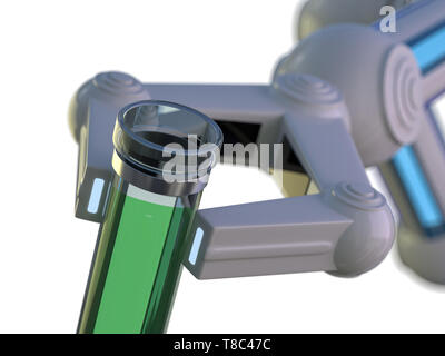 Test tube in robot arm. robot manipulates chemical tubes. 3D rendering - Stock Photo