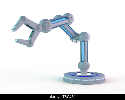 Plastic model of industrial robotics arm Robot manipulator. 3D rendering - Stock Photo