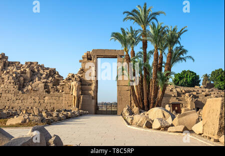 Ruins in the Karnak temple at sunny summer day, Egypt - Stock Photo
