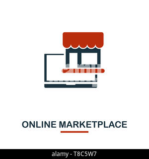 Online Marketplace icon in two colors. Creative black and red design from e-commerce icons collection. Pixel perfect simple online marketplace icon fo - Stock Photo