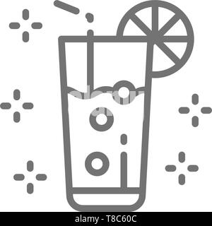 Lemonade, glass with drink, mojito, alcohol line icon. - Stock Photo
