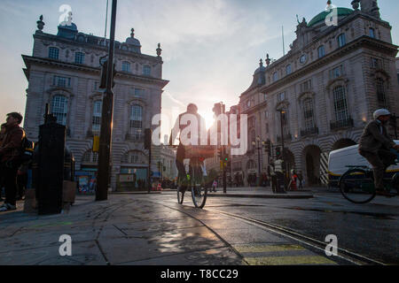 A cyclist cycles through Piccadilly Circus in London as the sun sets on a summer's evening - unusually, no cars or buses at all - Stock Photo
