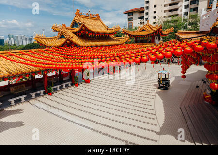 Thean Hou Temple decorated with lanterns for the Chinese New Year, Kuala Lumpur, Malaysia