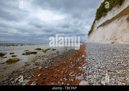Coastal landscape and Baltic sea in Jasmund national park on the island of Rugen in Germany - Stock Photo