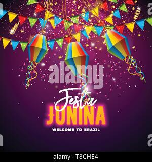 Festa Junina Illustration with Flags and Paper Lantern on Confetti Background. Vector Brazil June Festival Design for Invitation or Holiday - Stock Photo