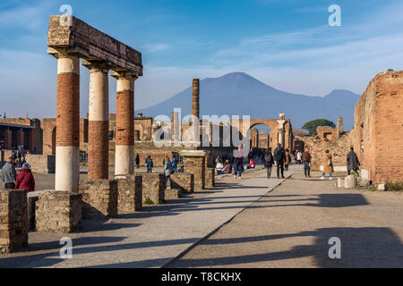 Pompeii forum, Mount Vesuvius in Background, Italy - Stock Photo