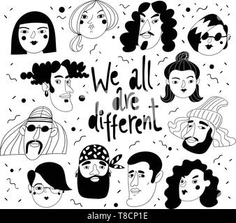 We all are different vector design with different people avatars or portraits - Stock Photo
