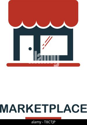 Marketplace icon in two colors. Creative black and red design from e-commerce icons collection. Pixel perfect simple marketplace icon for web design,  - Stock Photo
