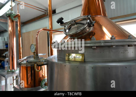 Gin stills at  Dunnet Bay Distillery in Caithness on  the North Coast 500 scenic driving route in northern Scotland, UK - Stock Photo