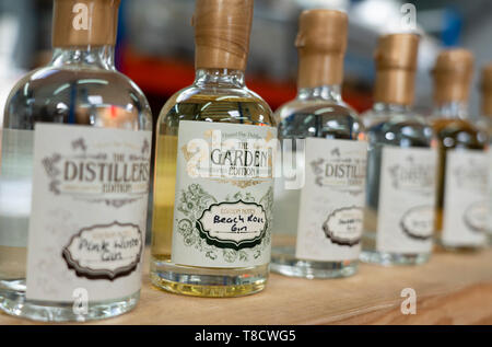 Samples of Gin at Dunnet Bay Distillery in Caithness on  the North Coast 500 scenic driving route in northern Scotland, UK - Stock Photo