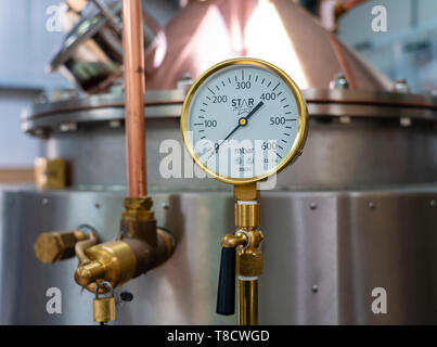 Detail of still at  Dunnet Bay Distillery in Caithness on  the North Coast 500 scenic driving route in northern Scotland, UK - Stock Photo