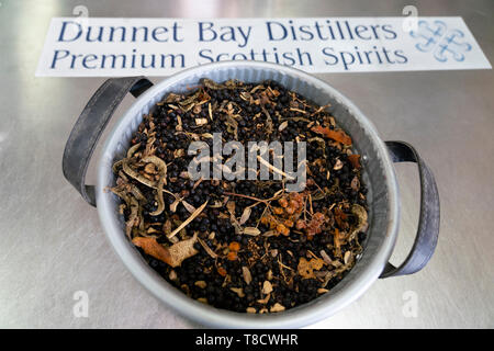 Basket of dried botanicals at  Dunnet Bay Distillery in Caithness on  the North Coast 500 scenic driving route in northern Scotland, UK - Stock Photo