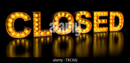 Closed signboard from golden light bulb letters, retro glowing font. 3D rendering - Stock Photo