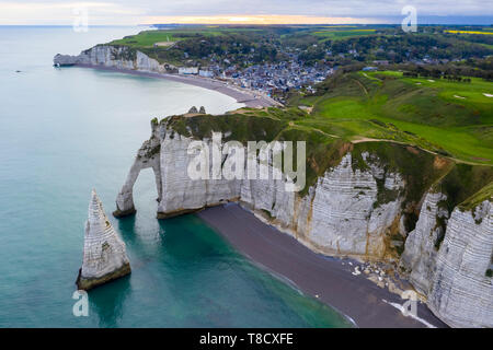 Aerial view of the cliffs of Etretat, Octeville sur Mer, Le Havre, Seine Maritime, Normandy, France, Western Europe. - Stock Photo