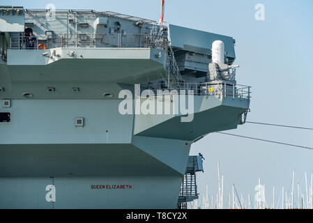 The Vulcan Phalanx weapon system (CIWS) is a new addition on the stern of the aircraft carrier HMS Queen Elizabeth. Seen at Portsmouth, UK on 1/4/19. - Stock Photo
